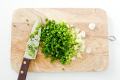 Spring onion on cutting board with knife Royalty Free Stock Photos
