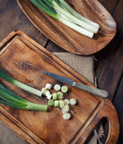 Spring onion. On cutting board, looking from above Stock Image