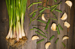 Spring onion and garlic Stock Image