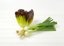 Spring onion and lettuce. Bunch of spring onions and heads of fresh lettuce on white wooden background Stock Photo