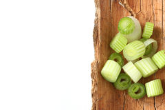 Spring onion. Onion rings of spring onion royalty free stock images