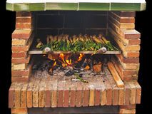 Spring onions on the barbecue Stock Photo