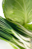 Spring onions and cabbage Royalty Free Stock Photography