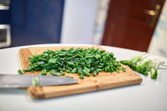 Spring onions chopped Stock Images