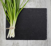 Spring onions on dark board Stock Photos