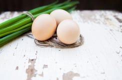 Spring onions, egg Stock Photos