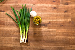 Spring onions and Olives Stock Photography