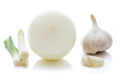 Spring onions, onion and garlic Royalty Free Stock Photo
