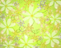 Spring Opaque Flowers Background. A background illustration featuring a variety of opaque flowers on green gradient background Stock Photo