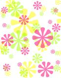 Spring Opaque Retro Flowers Background. A background pattern featuring an assortment of retro-syle spring coloured flowers with opacity on white Royalty Free Stock Photography