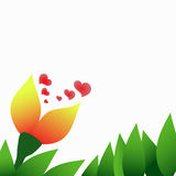 Spring orange flower and green leaves. Spring orange flower with hearts in green leaves Royalty Free Stock Photography