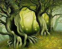 Into the spring. Original fantasy art, scenery of ancient trees royalty free illustration
