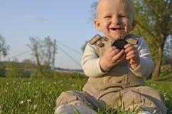 Spring outdoor baby portrait Stock Photos