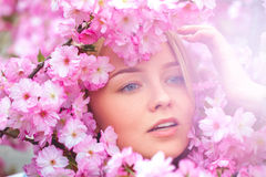 Spring outdoor portrait of a charming girl in flowers bloom Royalty Free Stock Photo