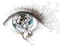 Spring. Painting of joy of of awakening in eyes Stock Images