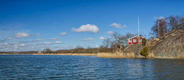 Spring panorama landscape for Swedish shore Royalty Free Stock Photos