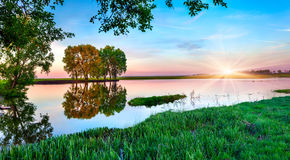 Spring panorama of morning Royalty Free Stock Photography