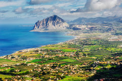 Spring panorama of sea coast city Trapany. Sicily, Italy, Europe Royalty Free Stock Photo