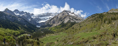 Spring panoramic view of the cirque of Gavarnie Stock Images