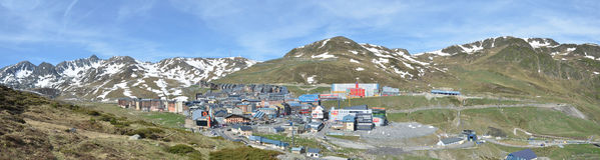 Spring panoramic view of the town Pas de la Casa Stock Image