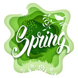 Spring paper art. Paper art carving style design with hand drawn word Spring and springtime elements. Vector illustration stock illustration