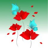 Spring Paper-cut style card on green background. Red flowers, blue butterflies. 3D vector, day, happy, love, flora. Hello Spring Paper-cut style card on green Stock Image