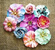 Spring paper flowers on sack texture Royalty Free Stock Image