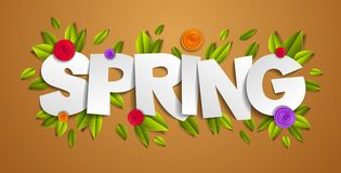 Spring papercut word with flowers and leaves vector modern style cartoon . Spring papercut word with flowers and leaves vector modern style cartoon paper cut 3d royalty free illustration