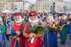 Spring Parade of Guilds in Zurich Stock Photos