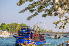 Spring Paris with boats on Seine in France Stock Image