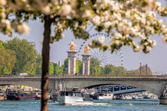 Spring Paris with boats on Seine in France Royalty Free Stock Photos