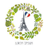 Spring in Paris.Green Leaves wreath, Eiffel tower. Spring in Paris.Famous landmarks with green leaves wreath,round compositions.Vintage Vector,doodle sketchy Royalty Free Stock Images