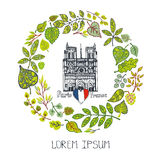 Spring in Paris.Green Leaves wreath,Notre Dame. Paris Famous landmarks with green spring leaves wreath,round compositions.Vintage Vector doodle  sketchy.Notre Stock Images