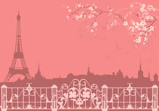Spring Paris. Vector background - eiffel tower and roofs silhouette among flowers Stock Image