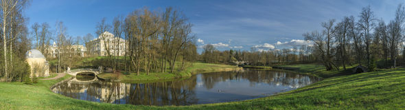 Spring park panorama Royalty Free Stock Photo