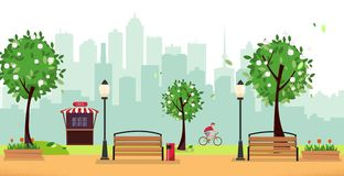 Spring park. Public park in the city with Street Cafe against high-rise buildings silhouette. Landscape with cyclist, blooming royalty free illustration