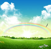 Spring. Park with rainbow in the sky stock images