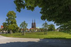 Spring in the park with a view of Ostrow Tumski. Wroclaw, Poland stock photo