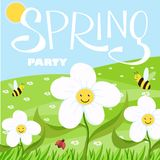 Spring party cartoon landscape with trees and clouds and flowers stock illustration