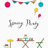 Spring party line icons with lettering. Vector illustration. Outdoor happy holidays. Card, postcard, brochure Stock Photos