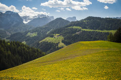Spring pastures, Dolomite Mountains, Italy Stock Photos