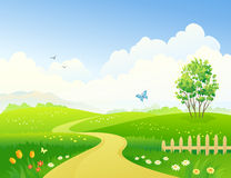 Spring pathway. Illustration of a beautiful green landscape Royalty Free Stock Image