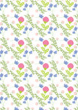 Spring pattern,with blue and blooming pink flowers and green leaves. Could be used on textiles,banners,gift bags,gift cards and as wallpaper Royalty Free Stock Photography