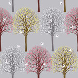 Spring pattern with flowering trees stock illustration
