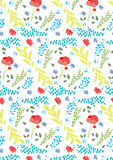 Spring pattern,with poppy flower and colorful plants and leaves. Can be used as wallpaper,cards,gift bags ore on textiles Royalty Free Stock Photos