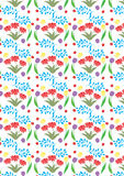 Spring pattern,with red flowers,yellow and purple tulips. Can be used on textiles,gift cards,gift bags,tags,wallpapers ore backgrounds Stock Image