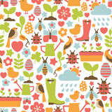 Spring pattern. Seamless pattern with spring icons Royalty Free Stock Images