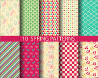 Spring pattern set. 10 different  spring patterns,  Pattern Swatches, vector, Endless texture can be used for wallpaper, pattern fills, web page,background Stock Photography