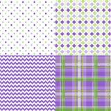 Spring Patterns Chevron Plaid Green Purple royalty free stock photo