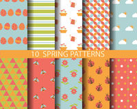 Spring patterns. 10 different spring patterns, Pattern Swatches, vector, Endless texture can be used for wallpaper, pattern fills, web page,background,surface Stock Illustration
